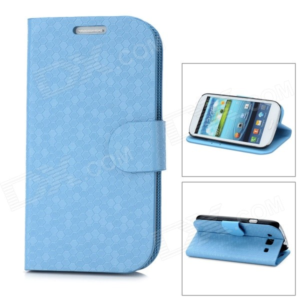 Diamond Style Protective PU Leather Case Stand w/ Card Slot for Samsung Galaxy S3 i9300 - Light Blue cool snake skin style protective pu leather case for samsung galaxy s3 i9300 brown