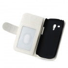 Protective PU Leather Cover PC Back Case Stand w/ Card Slots for Samsung Galaxy S3 Mini - White