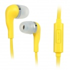 Wallytech WHF-099 3.5mm-Plug In-ear Style Stereo Earphones w/ Microphone - Yellow (120cm)