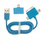 USB Male to Micro USB / Mini USB / Apple 30pin Cable + 30pin Female to 8pin Lightning Adapter - Blue