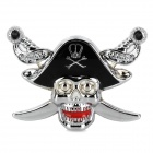 Skull Sward Shape Chrome Car Body Sticker - Silver + Black + Red