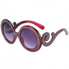SENLAN 6225 UV400 Protection Acetate Fiber + PU Frame PC Lens Sunglasses - Wine-red + Champagne Grey