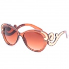 SENLAN 6253 Retro UV400 Protection Acetate Fiber + PU Frame PC Lens Sunglasses - Coffee + Golden