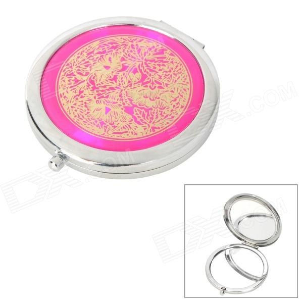 Portable Aluminum Alloy Cosmetic Mirror - Deep Pink