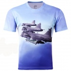 3D Fighters Pattern Artificial Fiber T-shirt for Men - Light Blue (XXXL)