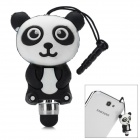 Universal Cute Cartoon Panda Shape Stylus w/ 3.5mm Anti-Dust Plug for Touch Screen - Black + White