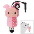Universal Cute Rabbit Shape Stylus w/ 3.5mm Anti-Dust Plug for Touch Screen - Pink + Watermelon Red