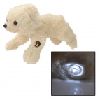 Cute Plush Running Dog Doll Toy w/ White LED - Beige