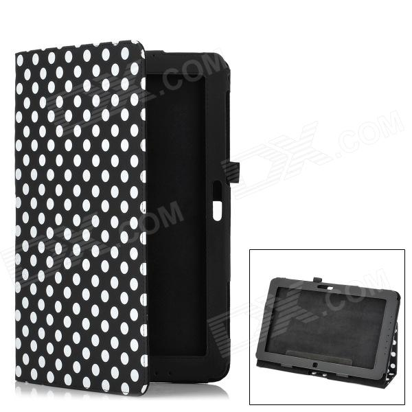 Dot Pattern Beschermende PU Leather Case Cover Stand voor Samsung ATIV Smart PC XE500T - Black + Whi