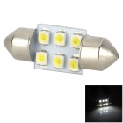 Lgfox Festoon 39mm 0.6W 60lm 6500K 6-1210 SMD LED White Light Car Reading Lamp (12V)