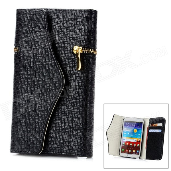 Wallet Style Protective PU Leather Case w/ Card Slot for Samsung Galaxy Note 2 N7100 - Black protective pu leather case w card slot for samsung galaxy note 2 n7100 red