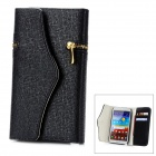 Wallet Style Protective PU Leather Case w/ Card Slot for Samsung Galaxy Note 2 N7100 - Black