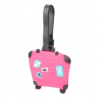 Cute Suitcase Style Travel Suitcase Luggage ID Tag - Deep Pink + Black