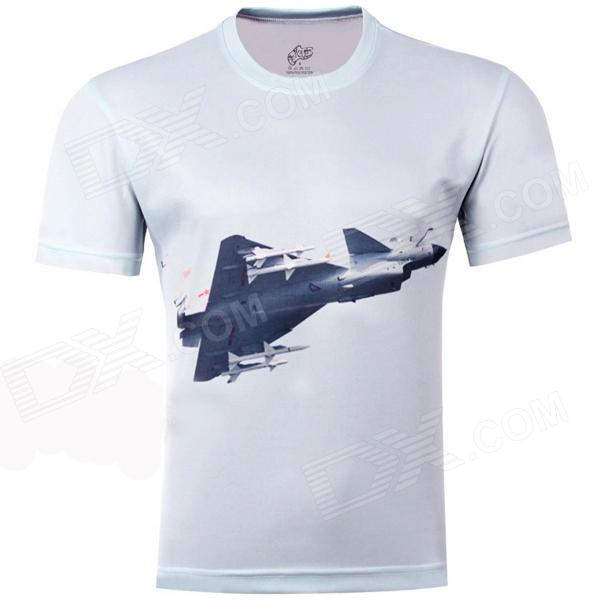 3D Airplane Soaring Pattern Artificial Fiber T-Shirt for Men - Grey (XXXL) men s korean version flaming sports car printing pattern short sleeve t shirt grey size xxxl
