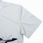 3D Airplane Soaring Pattern Artificial Fiber T-Shirt for Men - Grey (XXXL)