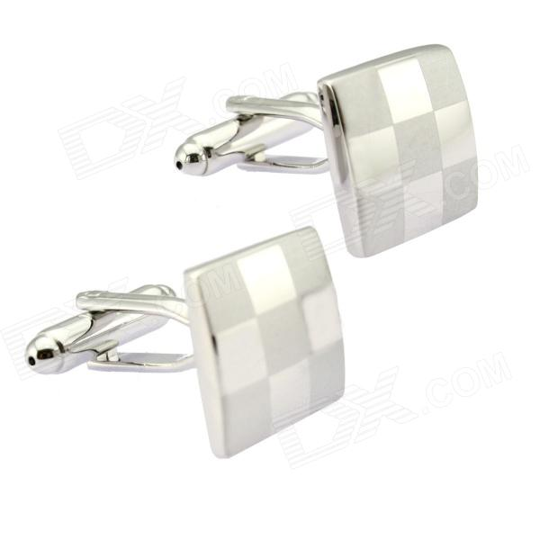 Check Pattern Cufflinks - Silver (Pair)
