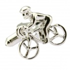 Fashion Riding Bicycle Style Cufflinks for Men - Silver (Pair)
