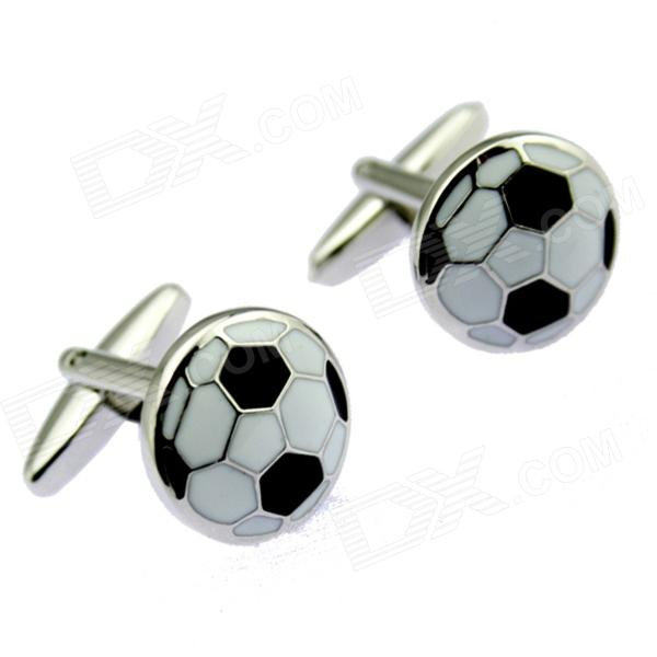 Charming Football Pattern White Steel Cufflinks For Men - Silver + Black (Pair)