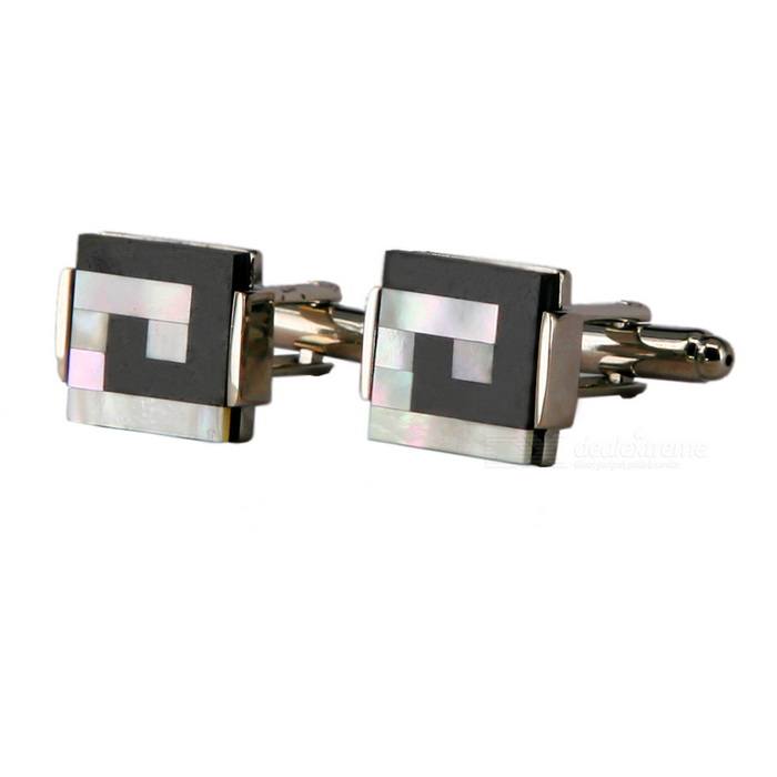 Fashion J Letter Style Shell White Steel Cufflinks For Men - Silver + Black (Pair)