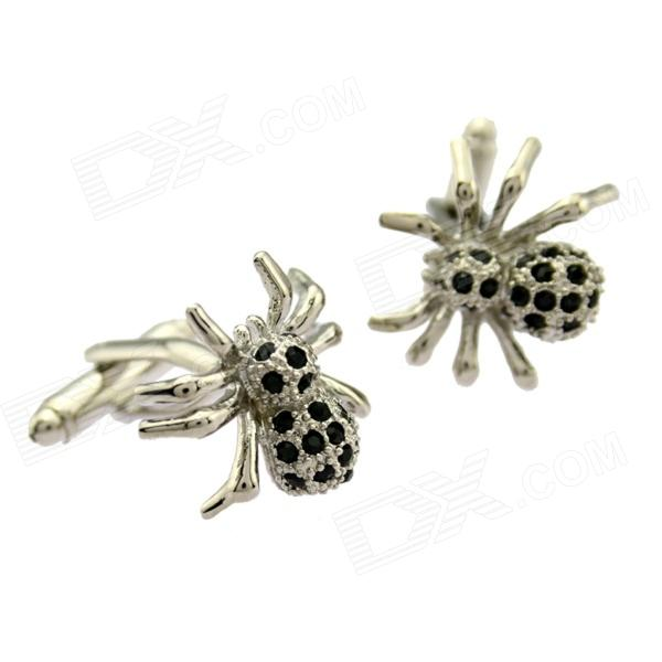 Fashion Exquisite Spider Style White Steel Cufflinks For Men - Silver + Black (Pair)
