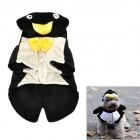 QQ Penguin Shaped Cotton Velvet Dog Apparel Pet Cloth - Black (Size L)
