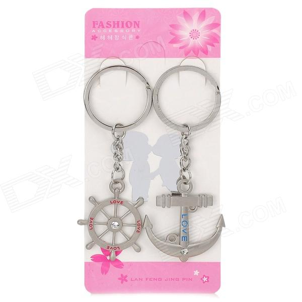 Valentine's Day Gift - Stainless Steel Rudder + Dock Couple's Keychains