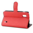 Lichee Pattern Protective PU Leather Cover PC Back Case Stand w/ Card Slot for LG Nexus 4 E960 - Red