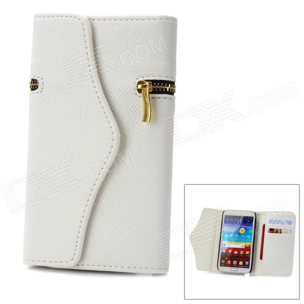 Wallet Style Protective PU Leather Case w/ Card Slot for Samsung Galaxy Note 2 N7100 - White solid color litchi pattern wallet style front buckle flip pu leather case with card slots for doogee x10