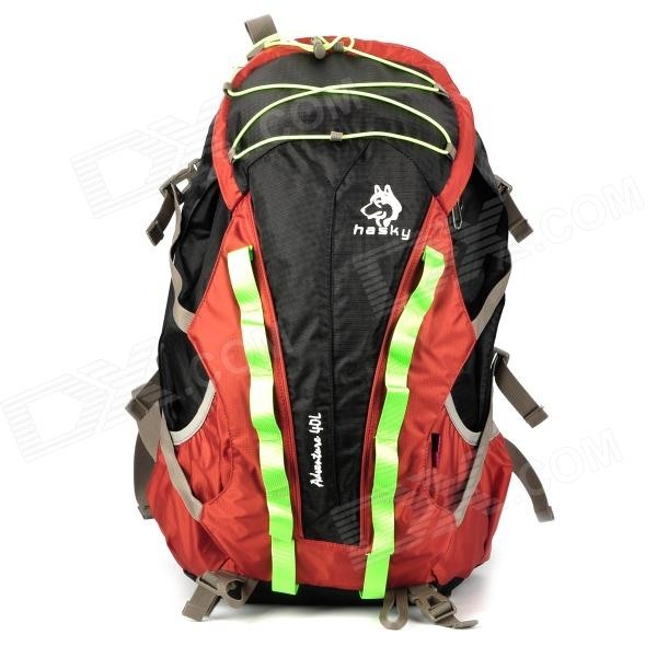 HASKY CY-9102 Outdoor Nylon Mountaineering Backpack Bag - Red + Black (40L)