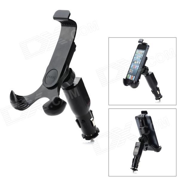 купить HC-04 Universal Car Charger Holder Stand w/ Bracket / USB Cable for Samsung / Iphone + More - Black недорого