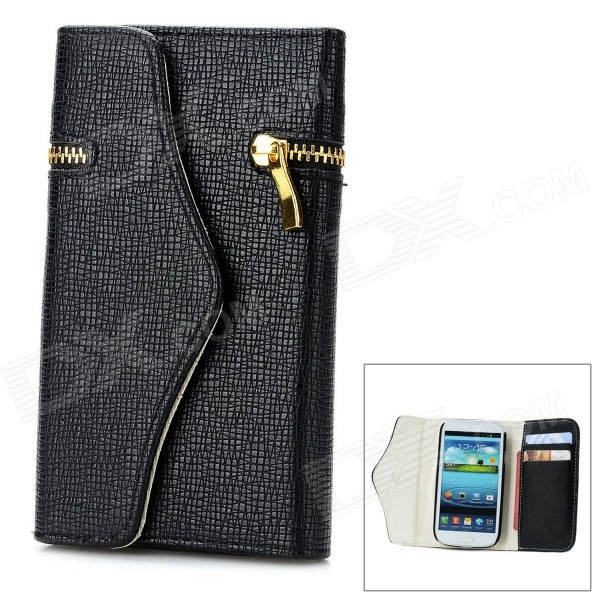 Wallet Style Protective PU Leather Cover Case w/ Card Slot for Samsung Galaxy S3 i9300 - Black solid color litchi pattern wallet style front buckle flip pu leather case with card slots for doogee x10
