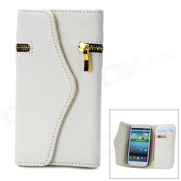 Wallet Style Protective PU Leather Cover Case w/ Card Slot for Samsung Galaxy S3 i9300 - White solid color litchi pattern wallet style front buckle flip pu leather case with card slots for doogee x10