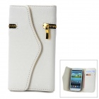 Wallet Style Protective PU Leather Cover Case w/ Card Slot for Samsung Galaxy S3 i9300 - White