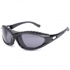 S1032 Motorcycle Riding UV400 Eye Protection Resin Lens Sunglasses - Black + Grey