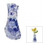 Creative Lotus Pattern Plastic Folding Vase - Blue + White (Size XL)