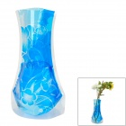 Creative Flower Pattern Plastic Folding Vase - Blue (Size XL)