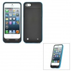 Portable External 2500mAh Emergency Battery Charger Back Case for iPhone 5 - Black + Blue