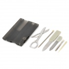 Card Style Multi-Function 7-in-1 Tools Set - Translucent Black + Grey + Silver