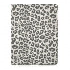 Ultrathin Leopard Style Protective PU Leather Case for Ipad 2 / The New Ipad / Ipad 4 - Grey + White