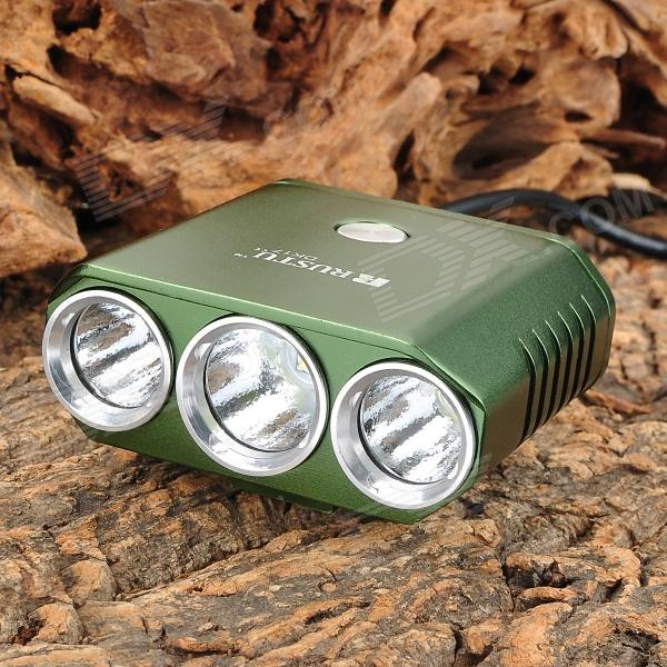 RUSTU DK17 1400lm 5-Mode White Bicycle Light w/ CREE XM-L-T6 + 2 x XP-G R5 - Green (4 x 18650) rustu d30 2300lm 3 mode white bicycle headlamp w 3 cree xm l t6 black red 6 x 18650