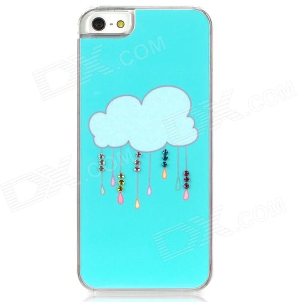 Rain Cloud Style Protective Plastic Back Case for Iphone 5 - Cyan water drops style protective plastic back case for iphone 4 blue