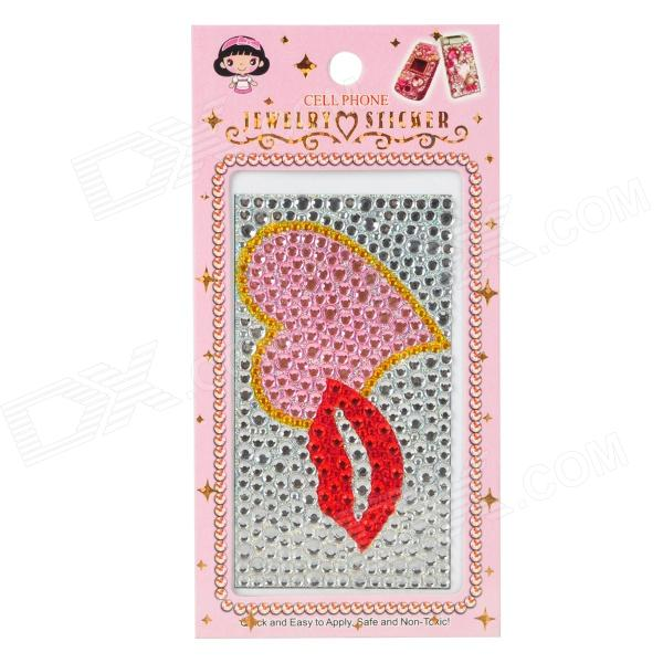 Red Lip + Love Heart Style CrystalDecorative Back Skin Sticker for Cell Phone - Silver