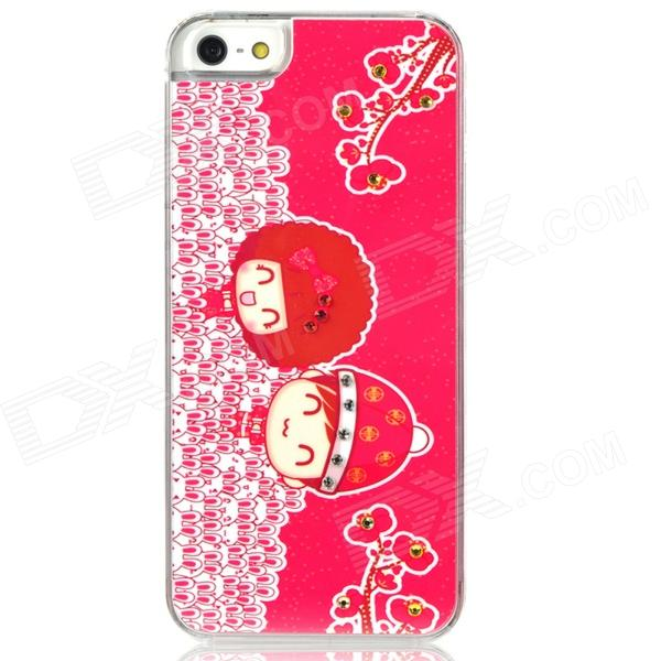Cute Lovers Pattern Protective Plastic Back Case for Iphone 5 - Red + White fashion 3d cute boy with big glasses pattern protective plastic case for iphone 5 white black