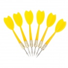 06 Economical Sharp Copper-plated Iron + Plastic Darts for Dart Game - Yellow (6 PCS)