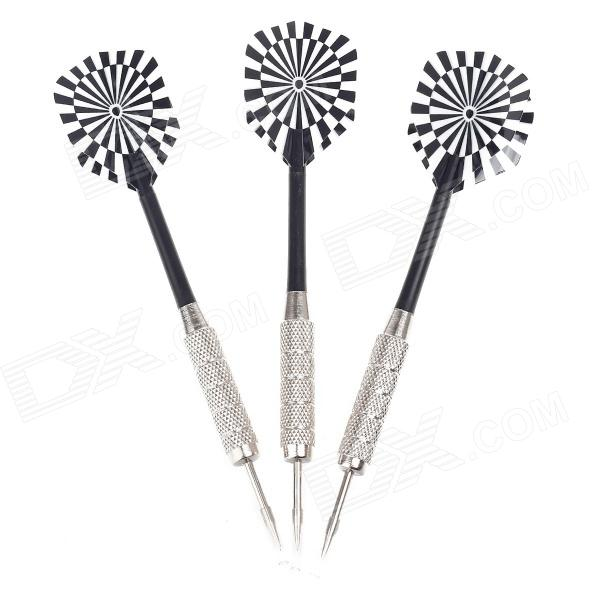 03 Dartboard Pattern Sharp Darts - Black + Silver + White (3 PCS) fairy pattern flight sharp nickel plated iron darts silver purple 3 pcs
