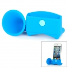 Rubber Horn Stand Holder Audio Amplifier / Loudspeaker for iPhone 5 - Blue