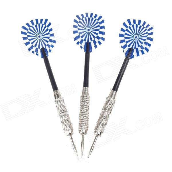 03 Dartboard Pattern Sharp Darts - Black + Silver + Blue (3 PCS) fairy pattern flight sharp nickel plated iron darts silver purple 3 pcs