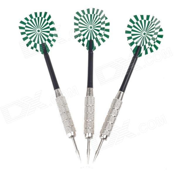 03 Dartboard Pattern Sharp Darts - Black + Silver + Green (3 PCS) fairy pattern flight sharp nickel plated iron darts silver purple 3 pcs