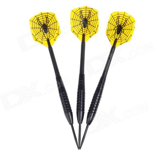 013 Spider Pattern Sharp Tungsten-plated Iron Plastic Darts for Dart Games - Black (3 PCS) fairy pattern flight sharp nickel plated iron darts silver purple 3 pcs