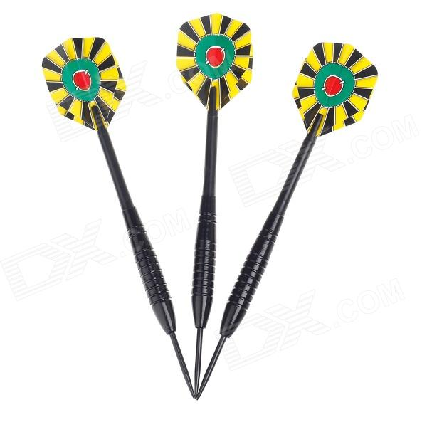 013 Dartboard Pattern Sharp Tungsten-plated Iron Plastic Darts - Black + Yellow + Red + Green (3PCS) fairy pattern flight sharp nickel plated iron darts silver purple 3 pcs
